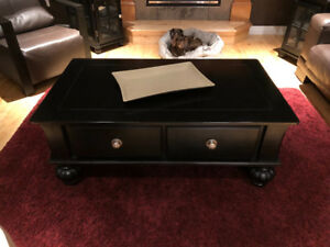 Black coffee table and two end tables