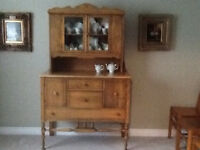 Antique Solid Maple China Cupboard Hutch Sideboard GORGEOUS!