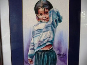 "Watercolor Lithograph by Lisandro Lopez Baylon ""Portrait of Indi Stratford Kitchener Area image 6"
