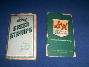 2 BOOKS OF S. & H. GREEN STAMPS-1962-SPERRY & HUTHINSON-VINTAGE
