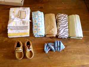 BRAND NEW RECEIVING BLANKETS, NEW SHOES AND PEE PEE TEEPEES