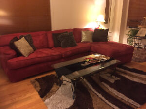 Great Condition Red Suede L Shaped Sectional Couch / Sofa Set
