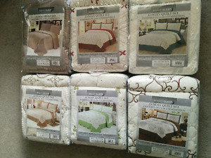 Luxury Embroidered 3 PC Quilt Sets - Queen size