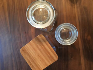 4 Storage Containers Jars Pantry Glass Bamboo