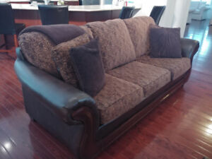 Sofa & Chair, of material and  brown faux leather