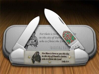Case xx Christmas Canoe Knife Luke 2:11 Natural Bone Pocket 10566