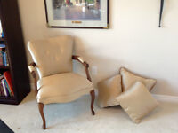 Antique Arm Chair with Matching Valance and Pillows