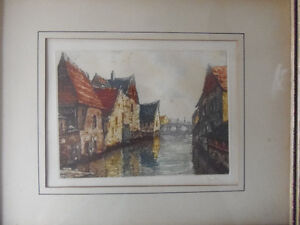 BRIGHT certified handpainted ORIGINAL French canal etching! London Ontario image 2