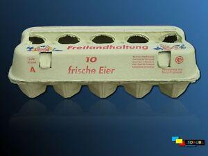 90 gelbe E3810 Freilandhaltung neue Eierschachteln Eierkartons Eierpappen KVP