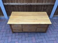 Oak 6 drawer coffee table chest