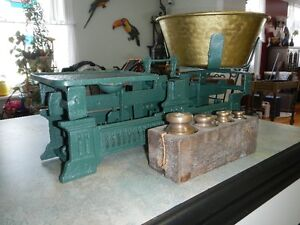 Vintage weight scale and weights