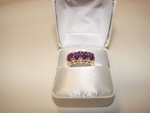 BEAUTIFUL 10K FOUR AMETHYST RING