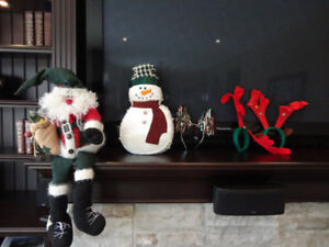 Shelf Sitting Santa , Snowman Decor & Reindeer Antler Head Piece