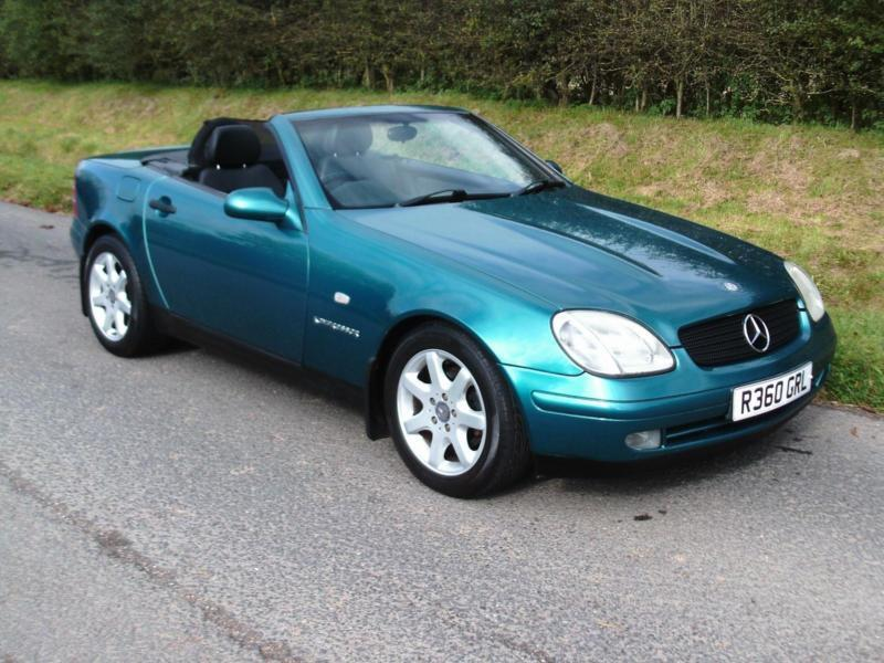 1997 MERCEDES-BENZ SLK KOMPRESSOR 2.3 AUTO, CONVERTIBLE, BLUE WITH BLACK LEATHER