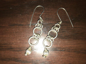 Sterling silver link earrings