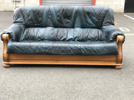 Navy Blue Leather 3 Seater Sofa