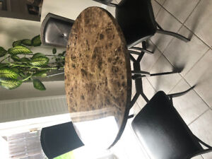 Marble Kitchen Table & 4 Leather Chairs FOR SALE! Great Quality!