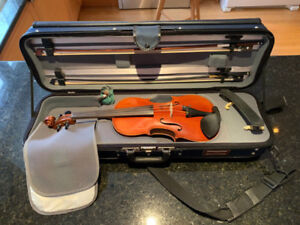 Violin 4/4 Size German Made w/ Two Bows, Case, Chin Rest, Rosin