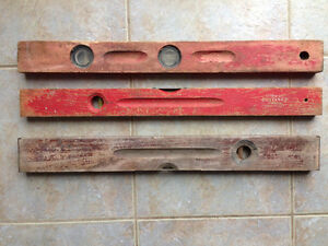 Three Wooden Antique Bubble Levels
