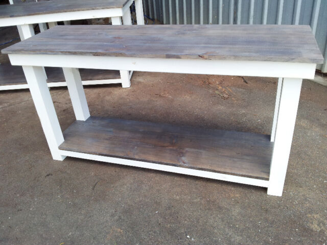 White Washed & Stained Kitchen Island Bench Made To Order