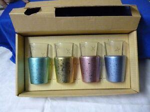 Vintage Retro Kitchen Metallic Colored Cocktail Glasses