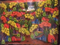 LARGE Hand Painted Original of Colourful Houses-Trees-Water!