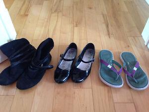 Girls black suede boots, UA flip flops & black pump shoes size 2