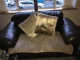 3 seater and 2 seater brown leather sofa.