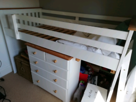 Child's full size single bed with ladder and chest of drawers