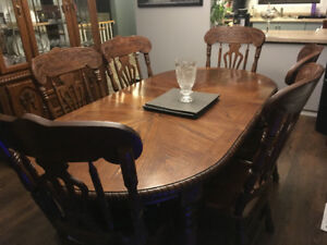 Solid wood dining room table and hutch