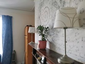 Pair of IKEA Arstid lamps with unique shade