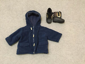 winter boots size 4 rated to -30C & winter jacket fits 12-18 mo