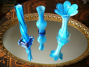 original vase solifleur en verre soufflé émeraude en trompette West Island Greater Montréal image 8