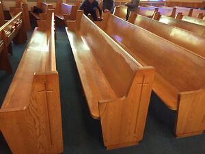 SOLID OAK CHURCH PEWS TO RECYCLE