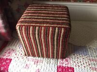 Striped material foot stool
