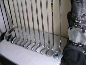 13 PC  WILSON FAT SHAFT SET, WITH BAG AND PULL CART
