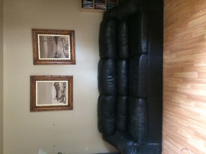 Black Leather Couch and Love Seat for sale