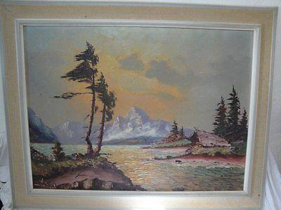 schönes Gemälde eines Sees in den Alpen signiert !