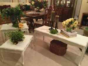 REDUCED FRENCH PROVINCIAL COFFEE TABLE AND TWO SIDE TABLES