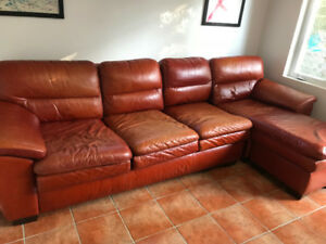 Red/Brown leather couch and chaise