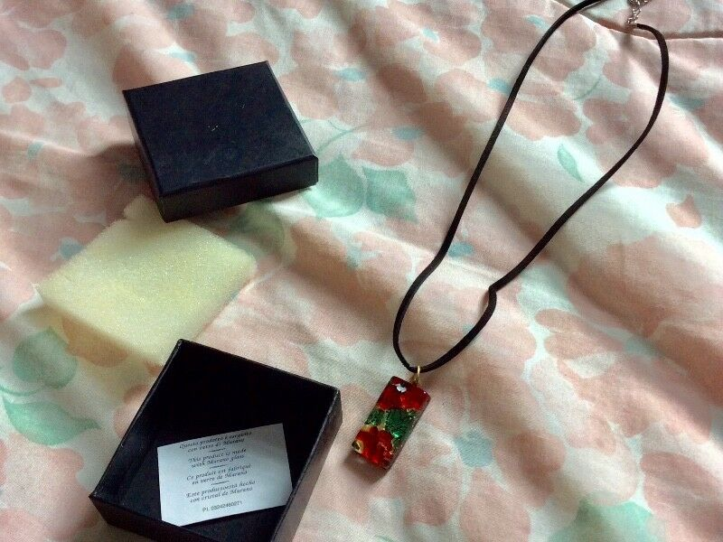 Brand New Black Necklace with Green and Red Glass Pendant from Murano