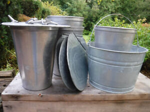 USED MAPLE SYRUP SAP BUCKETS WITH LIDS SPILES & ROUND TUB