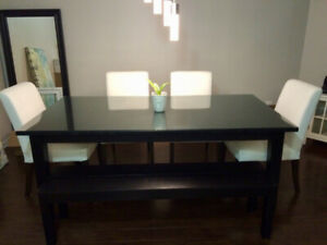 IKEA dining table and custom glass top