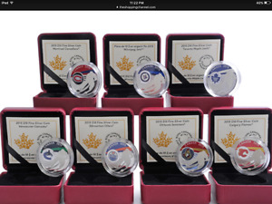 EDMONTON OILERS Plus ALL 6 Other Canadian Teams Pure Silver Coin