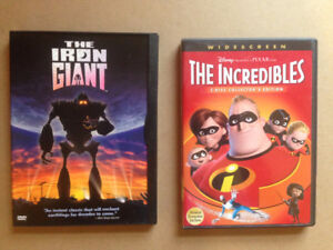 Pixar's The Incredibles and The Iron Giant DVDs