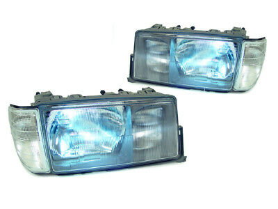 Euro Hid Xenon Headlight Lights - Bi-Xenon HID Euro Glass Headlight + Clear Corner Lights For 83-94 Mercedes W201