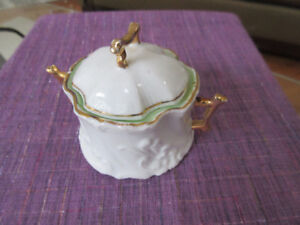 Antique White and Gold Mustard Pot. - Great collector's item