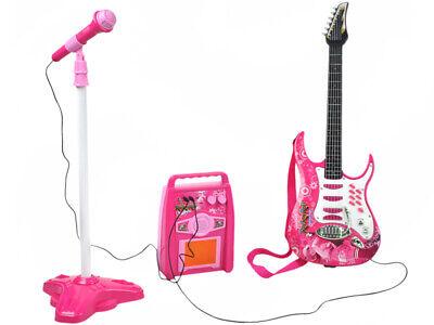 Guitarra Eléctrica+Amplificador+Micrófono Soportes Rosa Niña con Pilas 4709