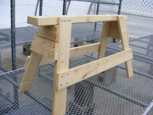 Hand made wooden sawhorses