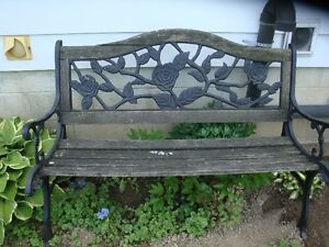 Wrought Iron Garden Bench &  Garden Cherubs/Angels